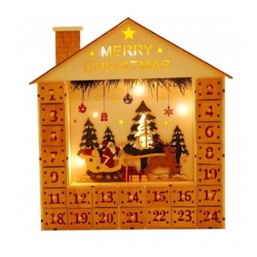 """Advento kalendorius su Led """"Kalėdų rogės"""""""