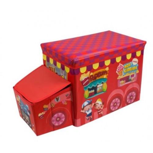 """Žaislų dėžė - pufas """"Raudonas autobusas 1"""""""