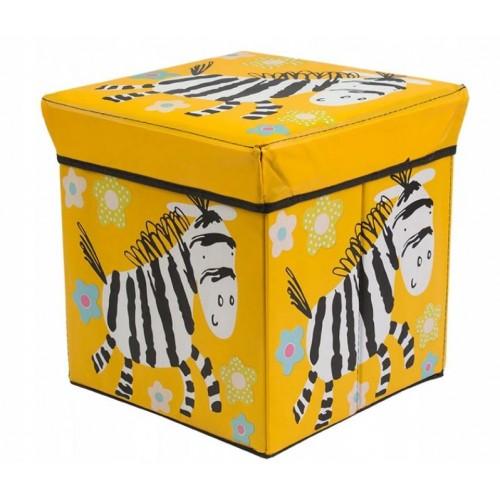 """Žaislų dėžė - pufas """"Geltonas zebras"""""""