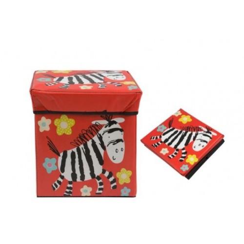 """Žaislų dėžė - pufas """"Raudonas zebras"""""""