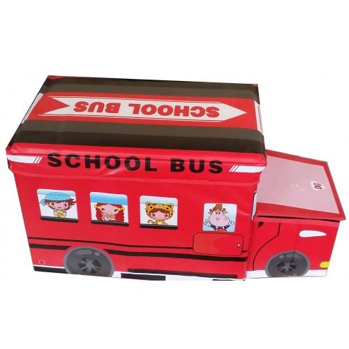 """Žaislų dėžė - pufas """"Raudonas autobusas"""""""